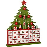 WeRChristmas Wooden Tree Advent Calendar Christmas Decoration, 40 cm - Green