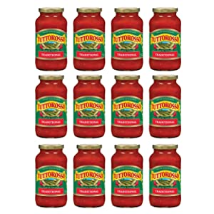 Tuttorosso Traditional Pasta Sauce, Gluten Free and Vegetarian Recipe, 24 Ounce Jars, 12-Pack