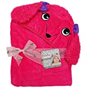 Extra Large 40 x 30 inch Hooded Towel, Pink Dog Poodle, Frenchie Mini Couture