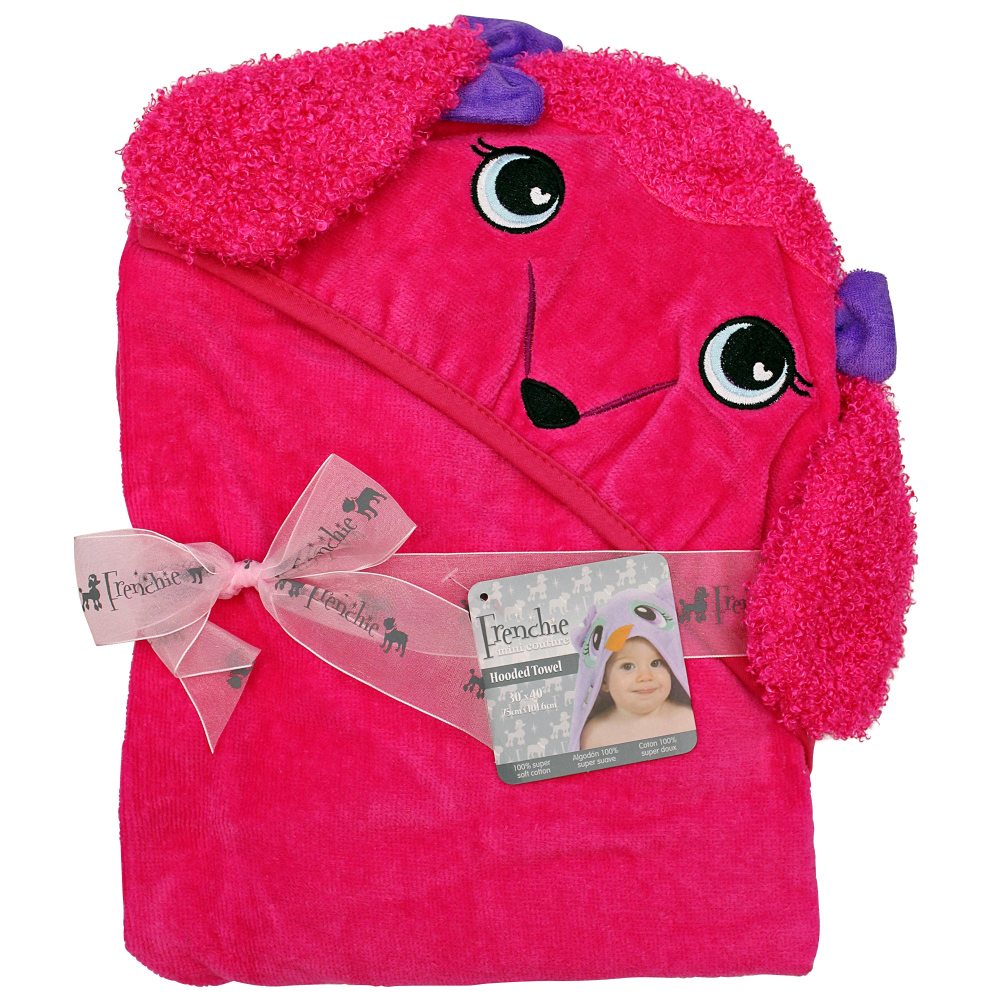 """Extra Large 40""""x30"""" Absorbent Hooded Towel, Pink Poodle"""