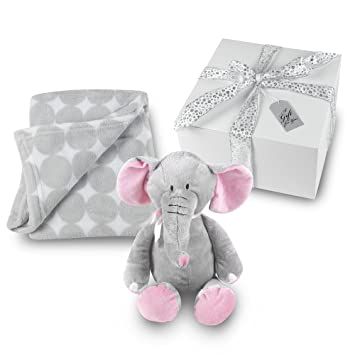 Amazon baby girl blanket and stuffed elephant gift set baby girl blanket and stuffed elephant gift set grey circle coral fleece blanket with plush negle Images