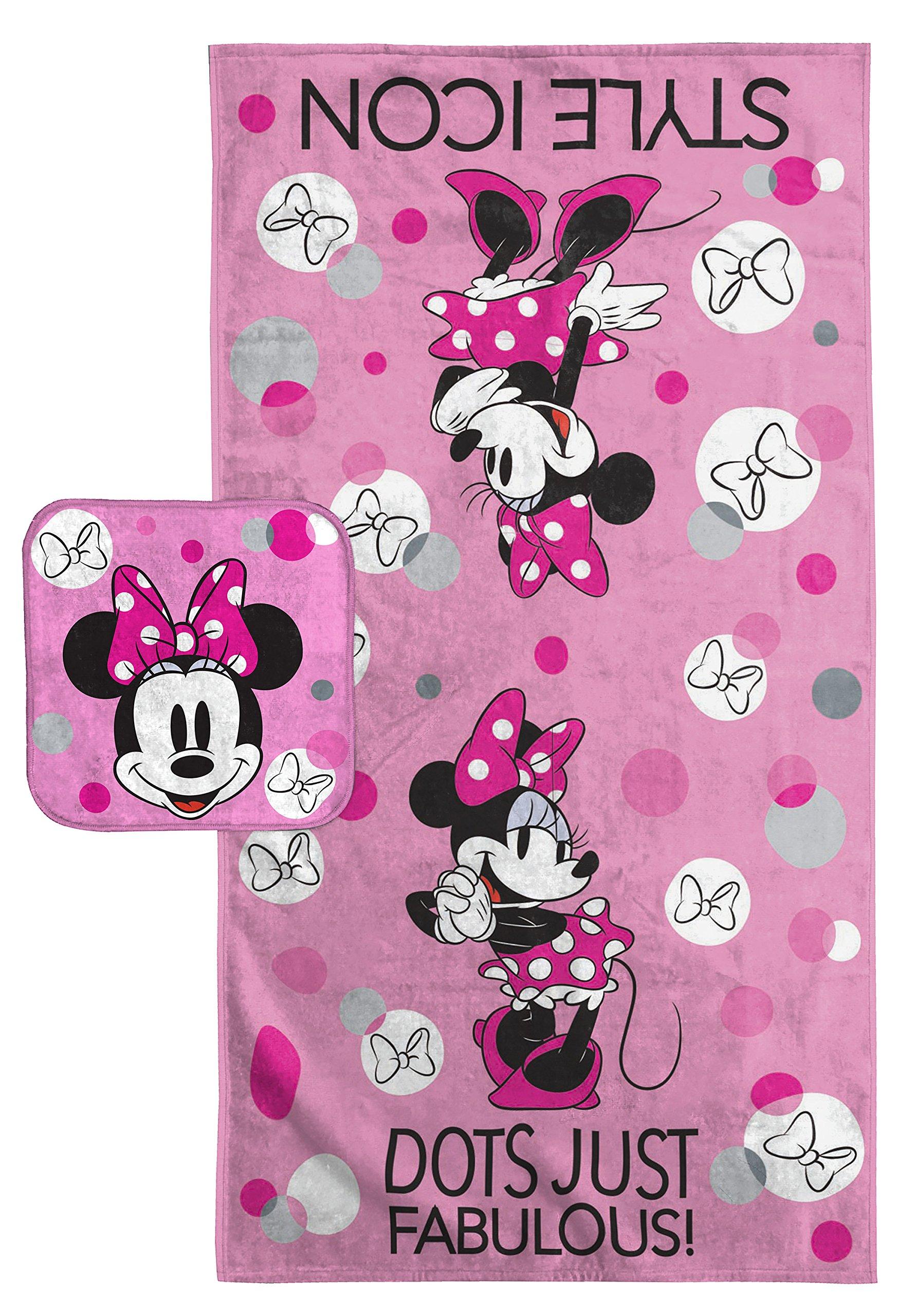 Disney Minnie Mouse Dots Cotton 2 Piece Bath Towel/Washcloth Set