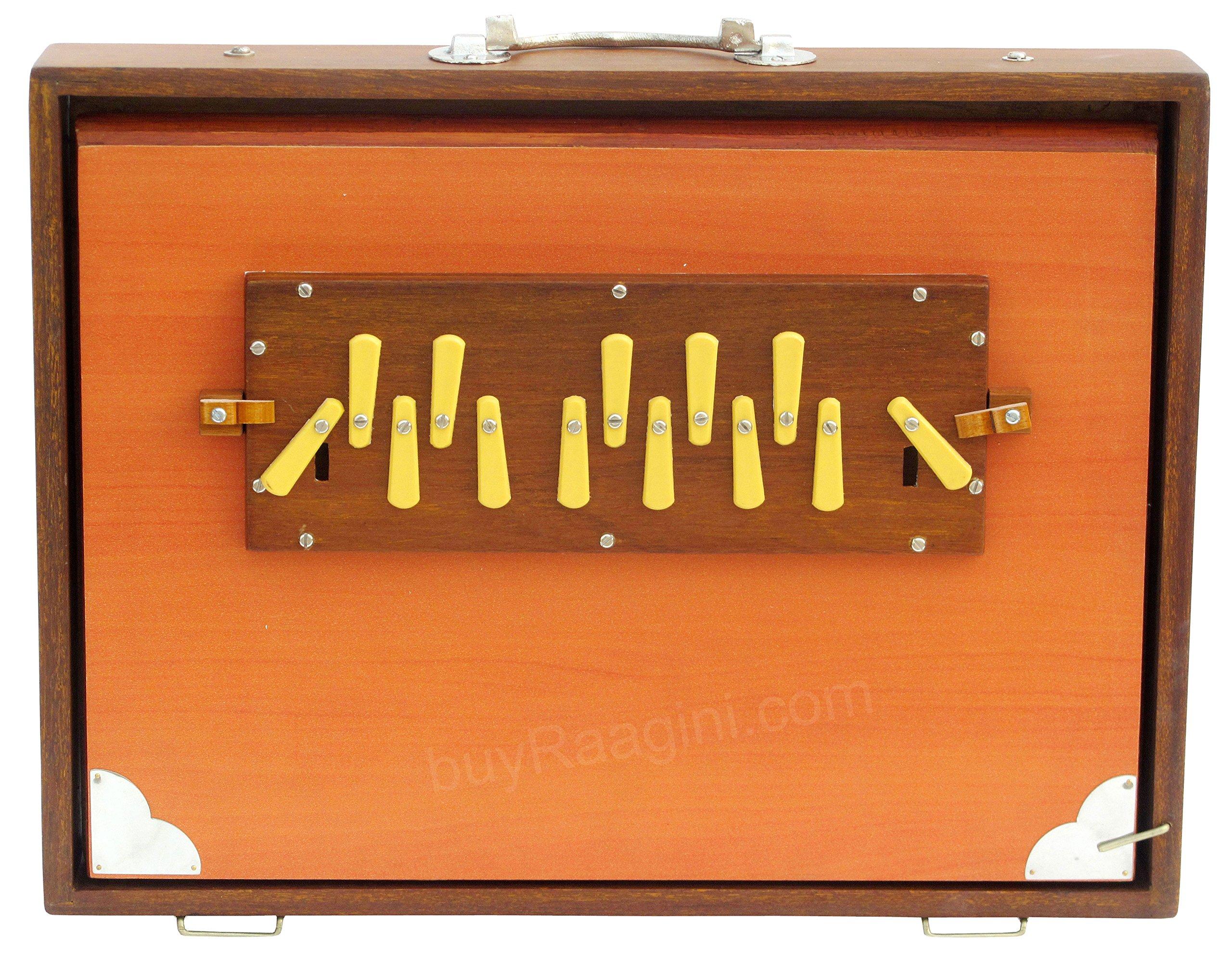 Shruti Box, Maharaja Musicals, Large, Natural Color, 16x12x3 Inches, 13 Notes, Surpeti, Sur Peti, Long Sustain, Professional Quality Shruthi Box, With Bag (PDI-BCG)