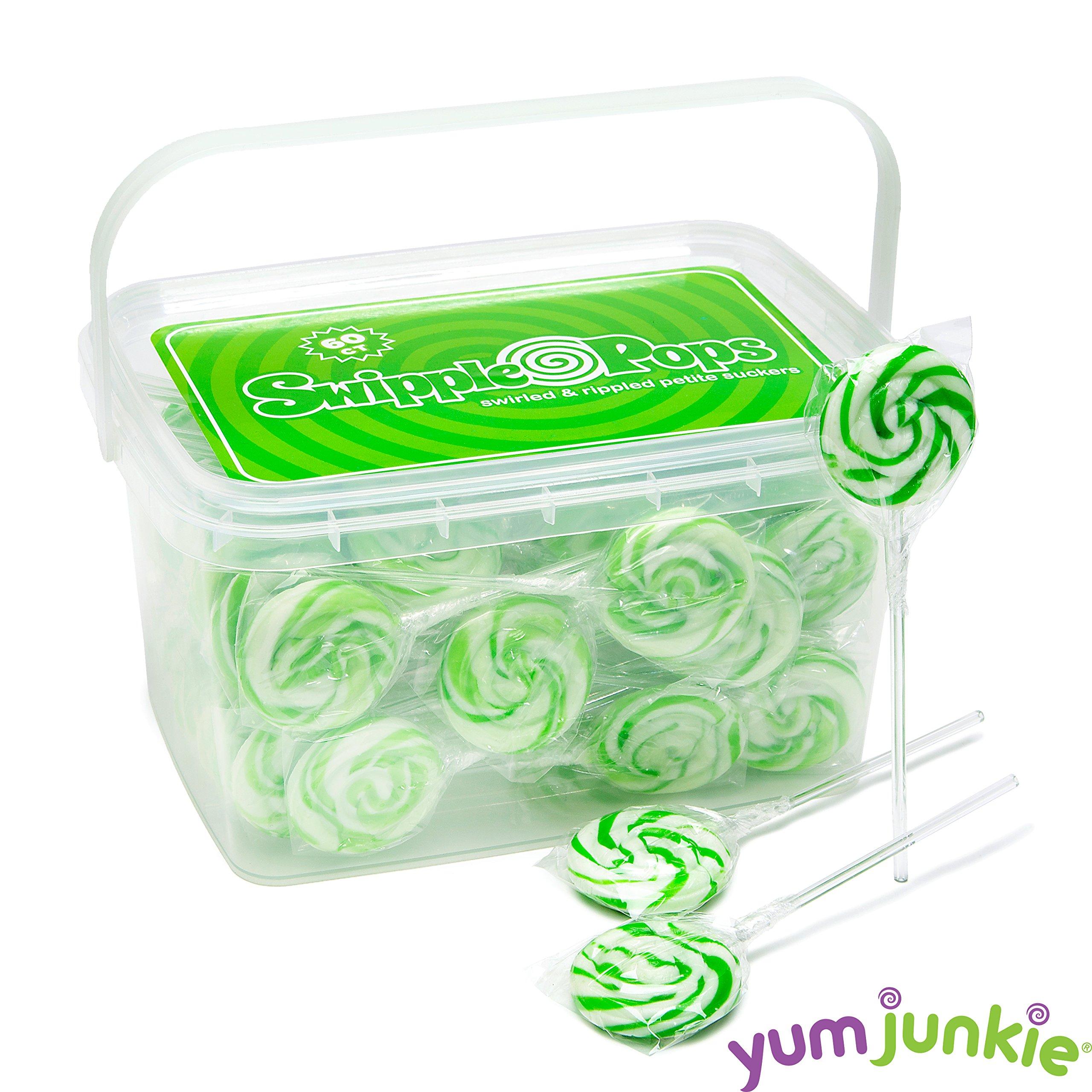 Swipple Pops Petite Swirl Ripple Lollipops - 60-Piece Tub (Green) by YumJunkie