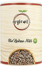 myfruits® Bio Kakao Nibs (Kakaonibs) - ohne Zusätze. Sanft geröstet für einen schokoladigeren Geschmack. DE-ÖKO-003. Zum Backen oder für Müsli (450g)