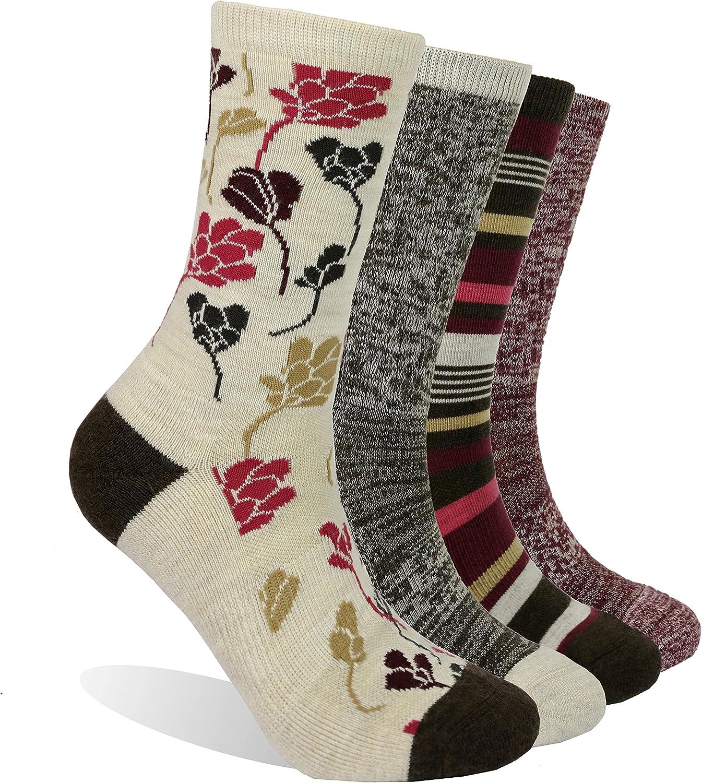 EnerWear 4 Pack Women's Merino Wool Outdoor Hiking Trail Crew Sock (US Shoe Size 4-10, Wine/Brown/Multi): Clothing