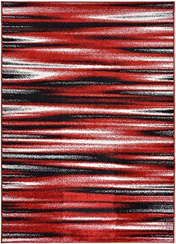 Designer Collection Stripes Design Contemporary Modern Area Rug Rugs 3 Options Red, 7 10 x9 10