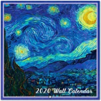 """2020 Wall Calendar - 2020 Monthly Square Calendar with Thicker Paper, Jan. - Dec. 2020, 12"""" x 24""""(Open) Unruled Blocks - Art Paintings"""