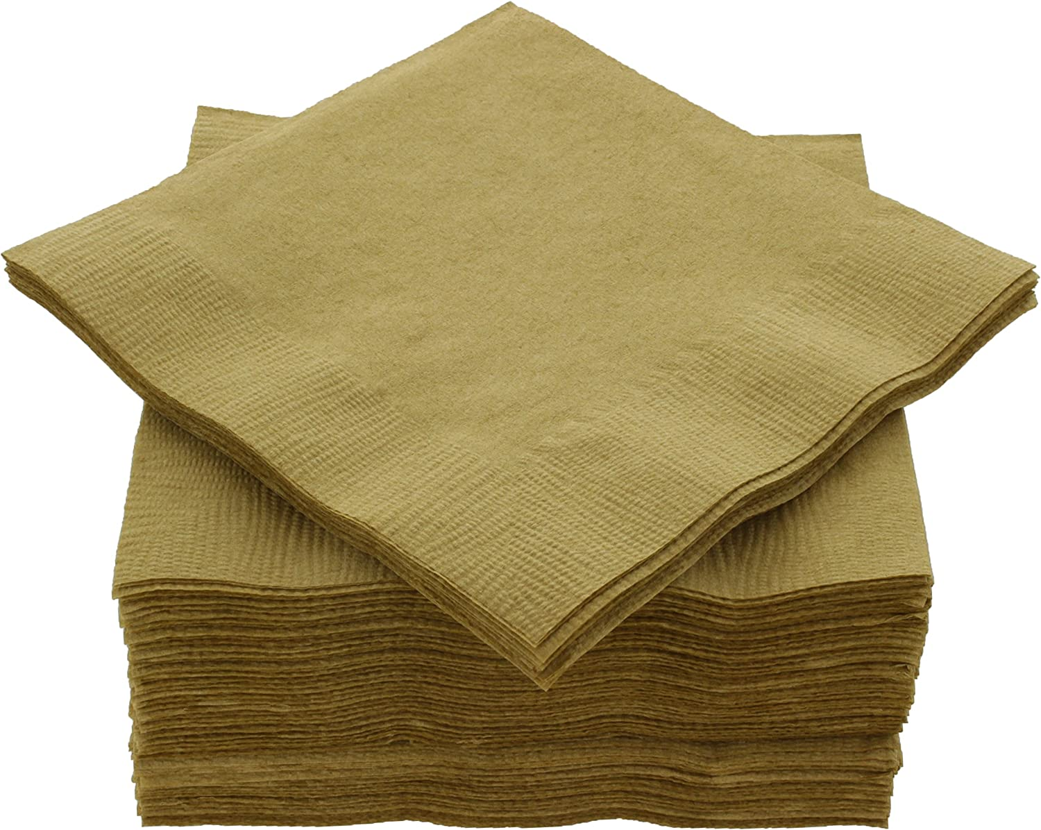 "Amcrate Big Party Pack 125 Count Gold Beverage Napkins - Ideal for Wedding, Party, Birthday, Dinner, Lunch, Cocktails. (5"" x 5"")"