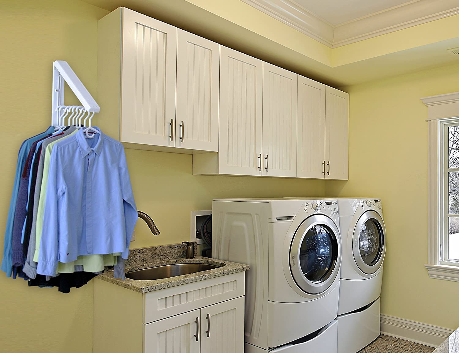 Amazon.com: The Original InstaHANGER Model AH12/M White  Folding  Collapsible Wall Mounted Clothes Storage/Drying Rack: Home & Kitchen