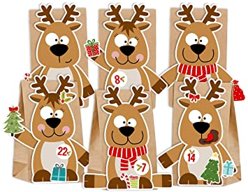 Weihnachtskalender Elch.Kuschelich Adventskalender Zum Befüllen Rentier Elch Mit Stickern Zum Gestalten Und Selber Basteln Wiederverwendbar Rentier