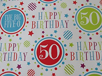 Image Unavailable Not Available For Colour Mens Ladies 50 50th Birthday Gift Wrapping Paper
