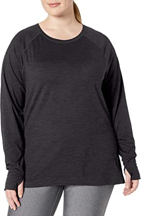 Amazon Essentials Women's Plus Size Brushed Tech Stretch Long-Sleeve Crew