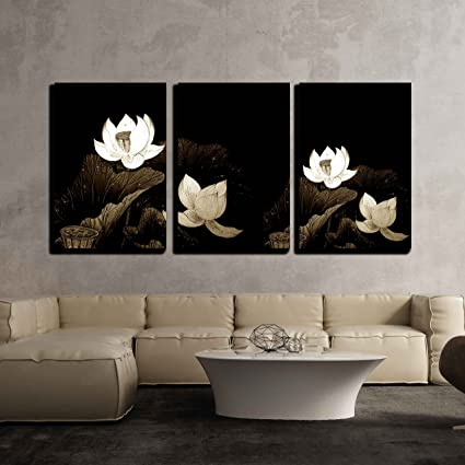 Amazon.com: wall26-3 Piece Canvas Wall Art - Abstract of Brown Lotus ...