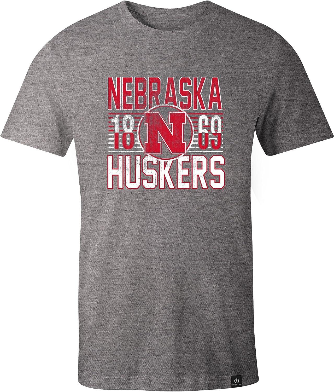 X-Large,HeatherGrey NCAA Nebraska Cornhuskers Adult NCAA Retro Stacked Image One Everyday Short sleeve T-Shirt