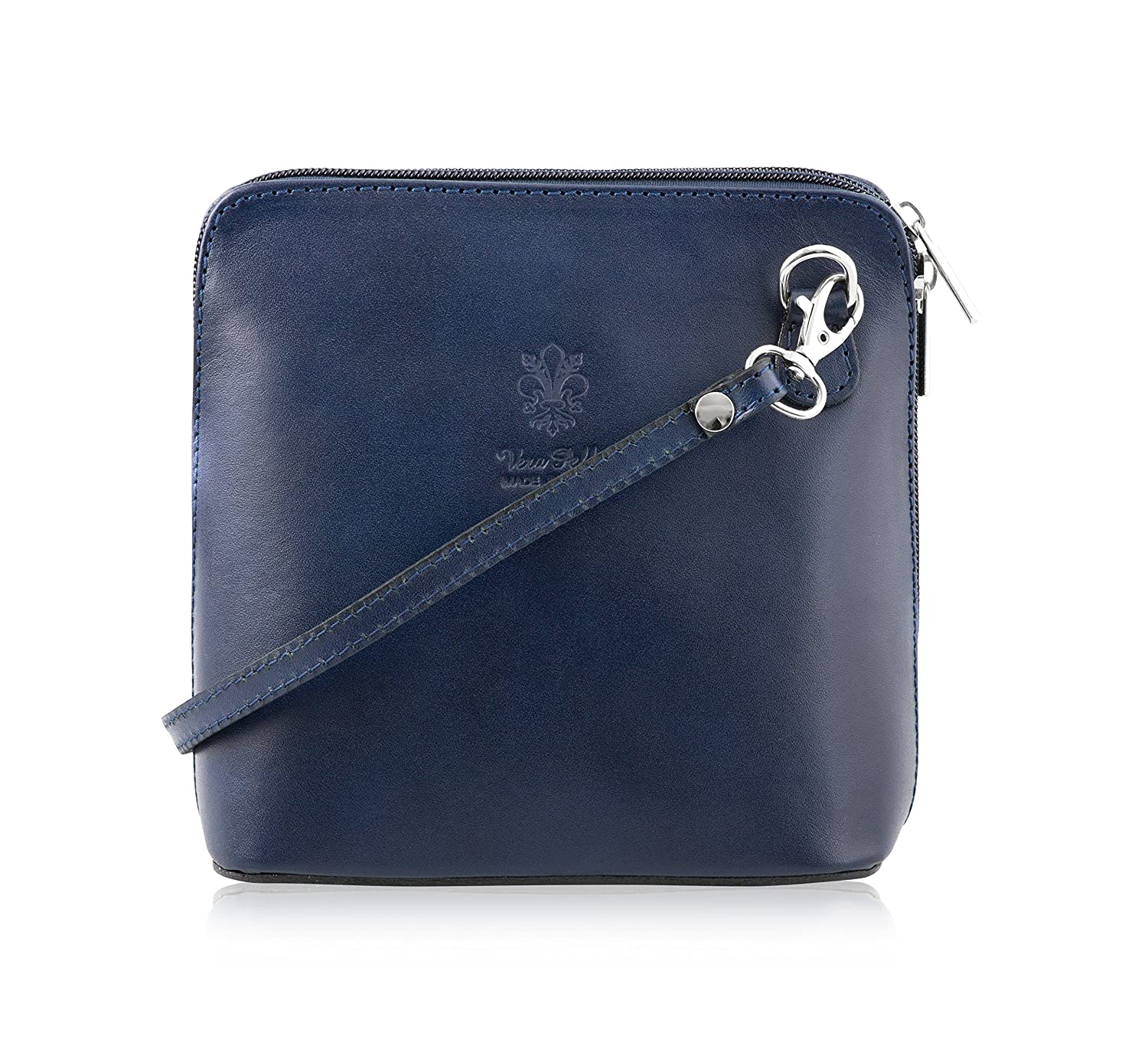 100% Italian Leather Handmade Small/Mini Cross Body/Shoulder HandBag/Clubbing Bag- Design 2018 in Lapis Lazuli - Made in Italy Mayfair Cashmere