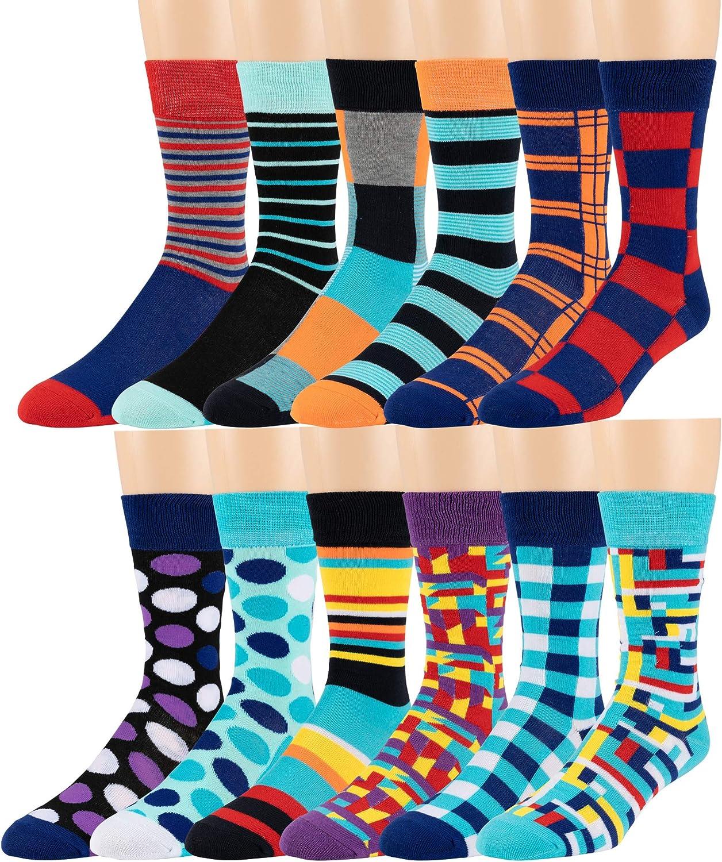 Chanwazibibiliu Retro Rock and Roll Symbol Lettering Mens Colorful Dress Socks Funky Men Multicolored Pattern Fashionable Fun Crew Cotton Socks