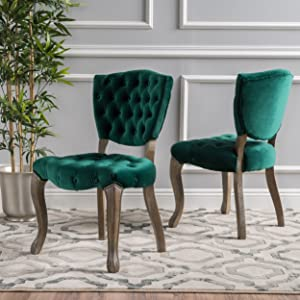 Christopher Knight Home 299586 Bates Velvet Fabric Dining Chairs (Set of 2), Dark Green