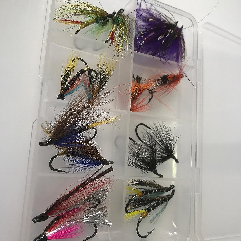 10/Auswahl mit Click Box # DR2 Lachs Fliegen 16/Single Haken Gr/ö/ßen 8