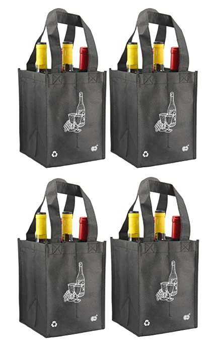1f8b80afbb Image Unavailable. Image not available for. Color  Reusable 4 Bottle Wine  Tote- ...