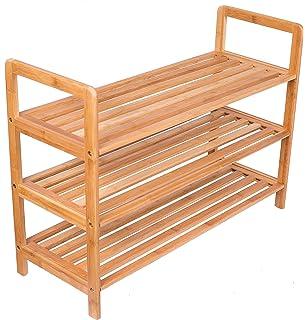 Attractive BirdRock Home 3 Tier Free Standing Shoe Rack With Handles | Bamboo | Wood |  Closets
