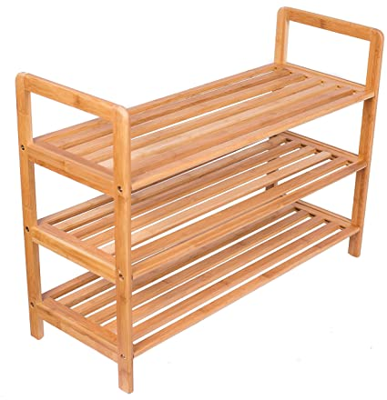 BirdRock Home 3 Tier Free Standing Shoe Rack With Handles | Bamboo | Wood |  Closets