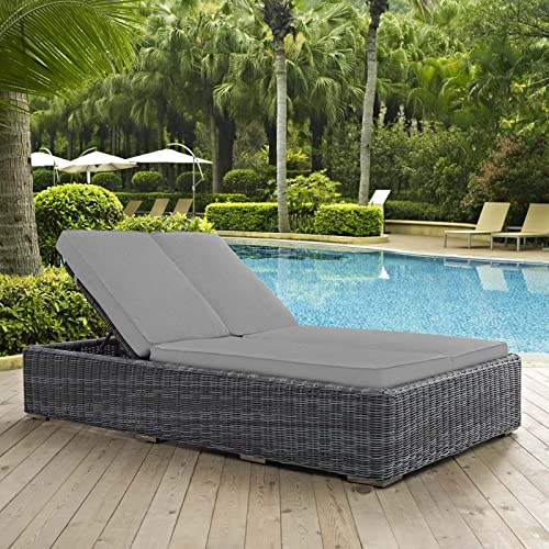 Modway EEI-1994-GRY-GRY Double Outdoor Patio Sunbrella Chaise, Gray