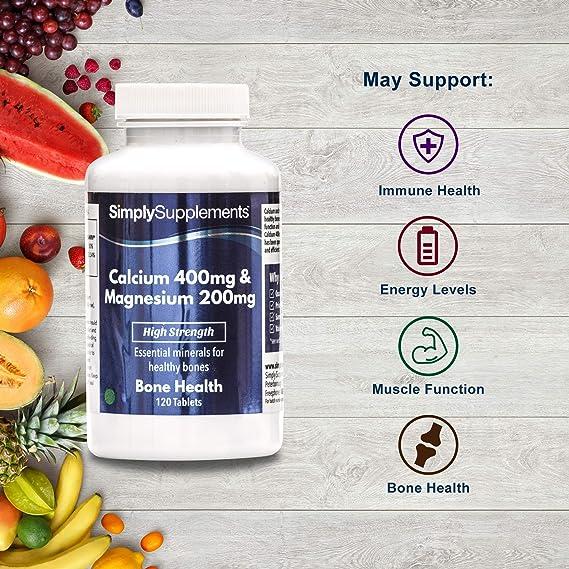 Calcio 400 mg y Magnesio 200 mg - 120 comprimidos - 2 meses de suministro - Huesos, uñas y dientes sanos - SimplySupplements: Amazon.es: Salud y cuidado ...