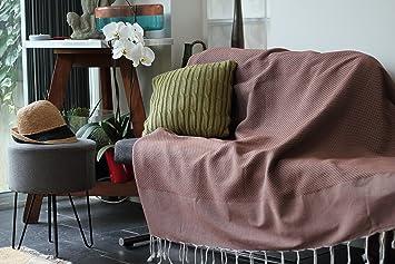 Grand Plaid, jeté de canapé ou couvre lit couleur marron   Très doux, fait f650b739ab4