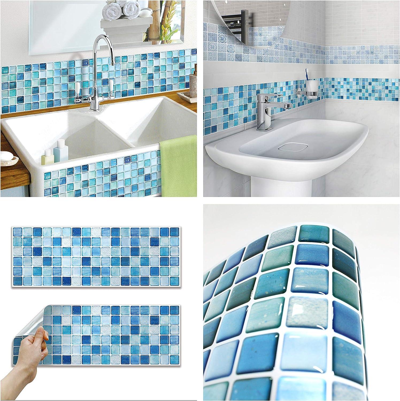 beaustile decorative tile stickers peel and stick backsplash fire retardant tile sheet 10pcs r n blue