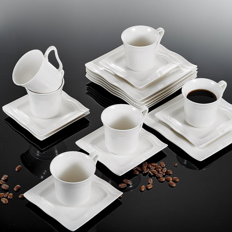jarra de leche y Azucarero servicio de cocina 3 piezas Juegos para az/úcar y lechede porcelana blanca set con tapa serie Flora MALACASA