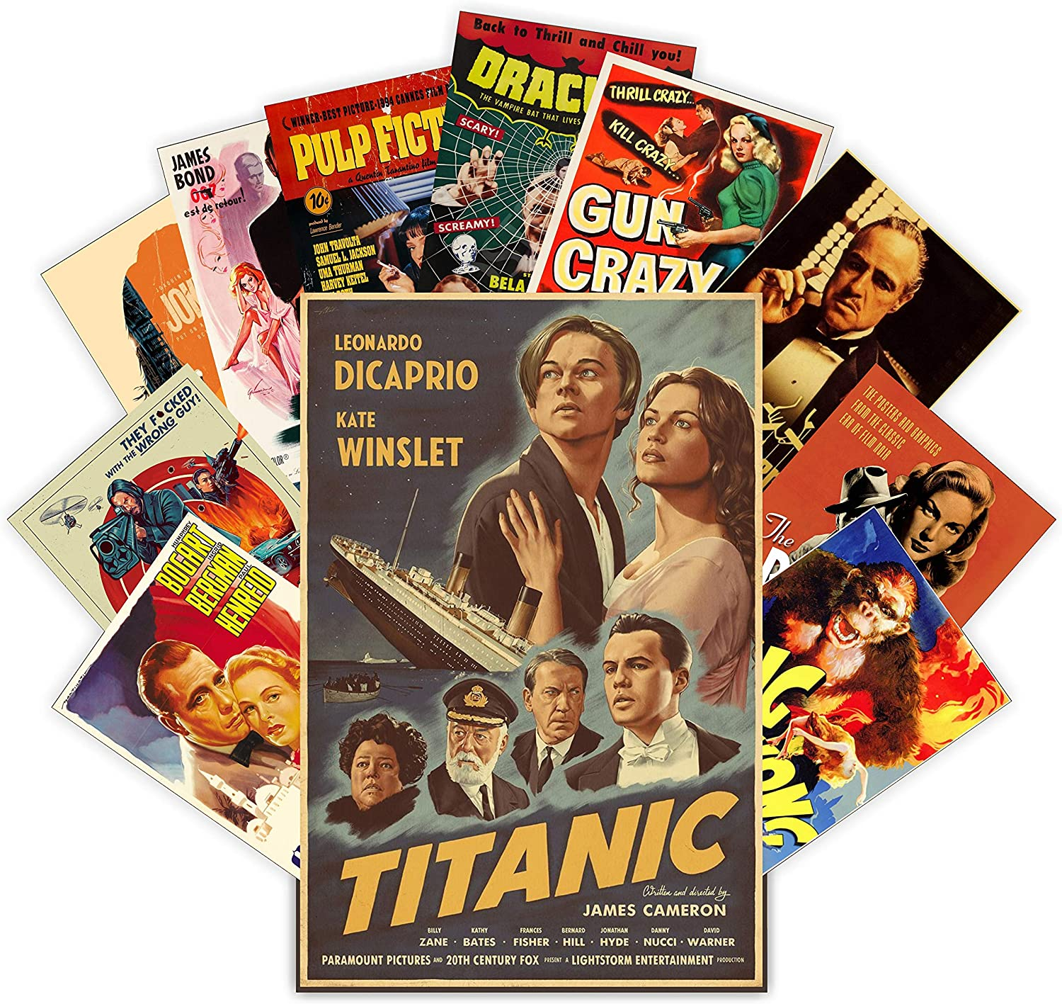HK Studio Vintage Posters of Classic Movie | Self-Adhesive, Vinyl Decal, Indie Posters for Room Aesthetic 90s | Indie Room Decor Wall Collage Kit | Old-Fashioned, Retro Movie Poster 7.8