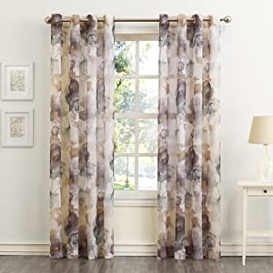 """No. 918 Andorra Watercolor Floral Crushed Texture Sheer Voile Curtain Panel, 51"""" x 84"""", Mulberry"""