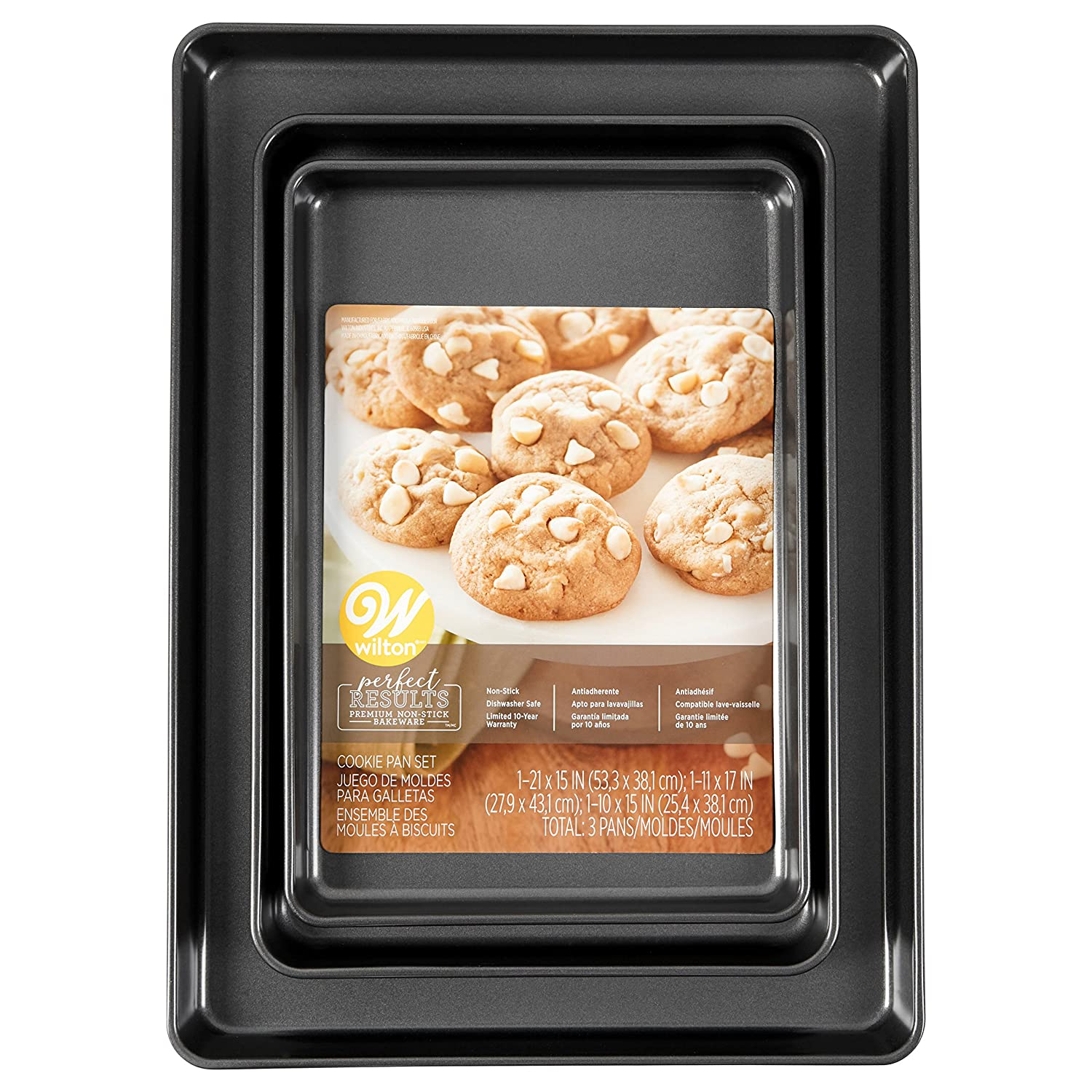 Amazon.com: Wilton Perfect Results Premium Non-Stick Bakeware Cookie Pan Set, Whether Baking for a Kids Party, the Holidays or Family, These Baking Sheets ...