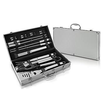 NutriChef barbacoa accesorios para utensilios de cocina Set de cocina de acero inoxidable – 17 piezas