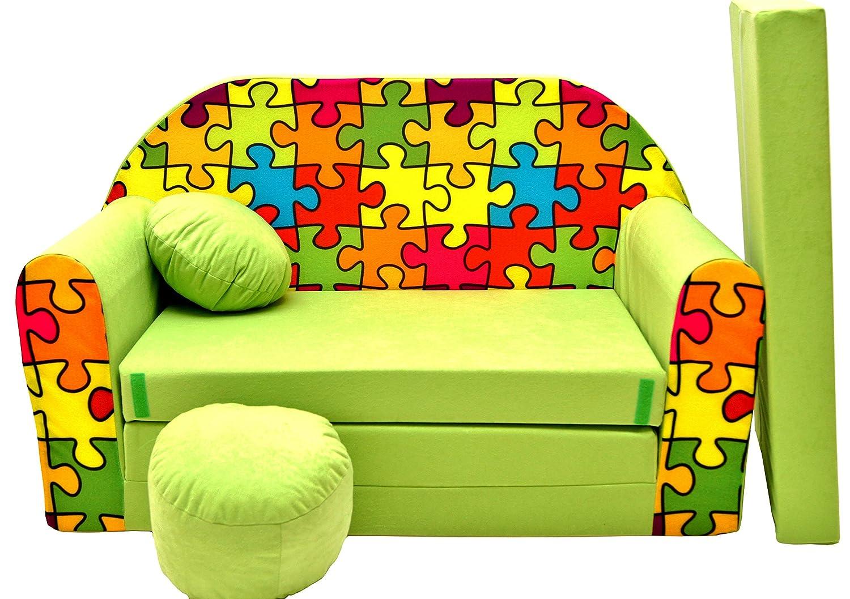 Pro Cosmo Canapé-Lit pour Enfants Z34avec Pouf/Repose-Pieds/Oreiller, en Tissu, Multicolore, 168x 98x 60cm 640791944246