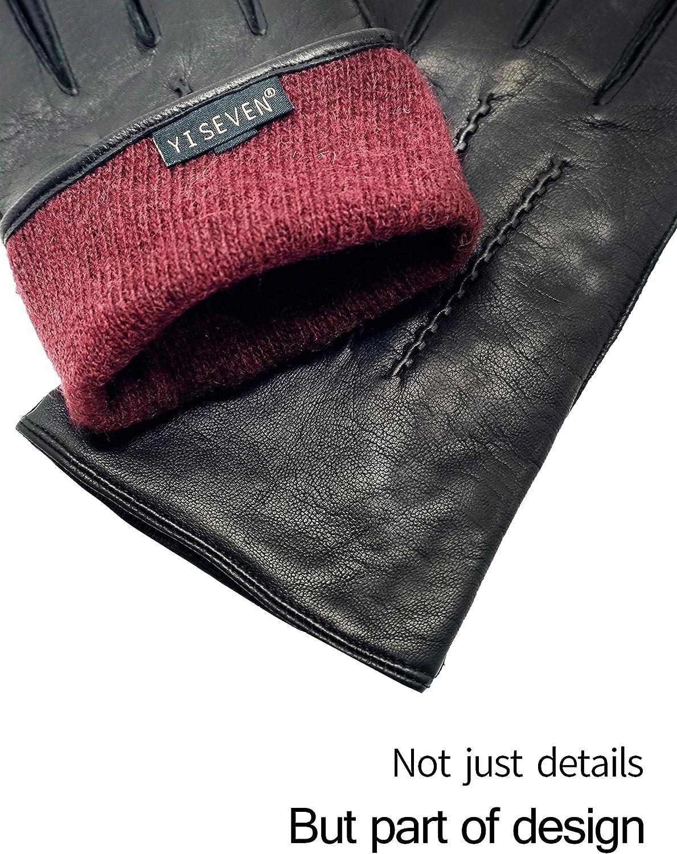 YISEVEN Men Touchscreen Lambskin Leather Gloves Three Points