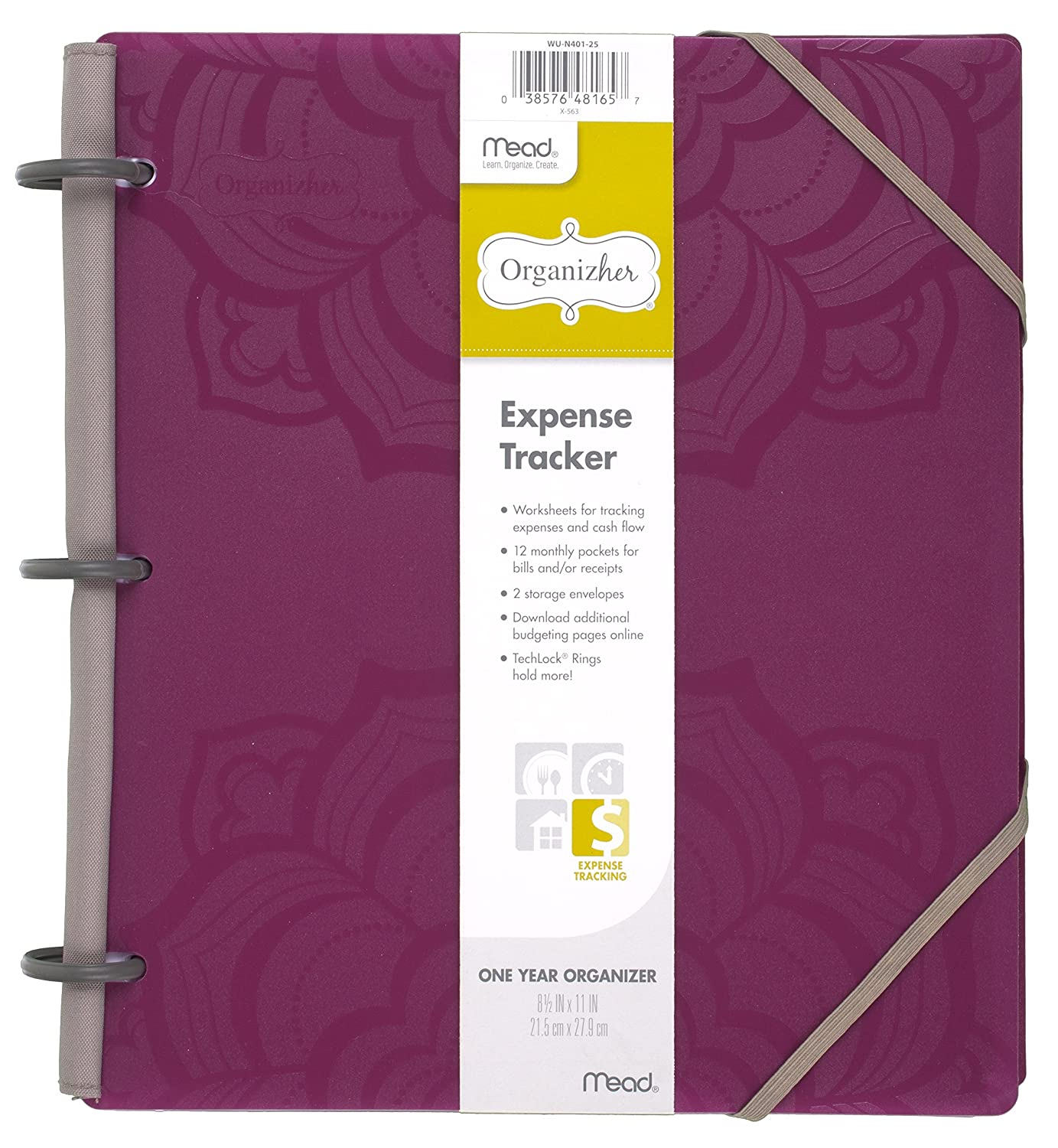 Worksheets Expense Tracker Worksheet amazon com mead organizher expense tracker budget planner bill organizer 8 12 x 11 poly purple 64047 personal orga