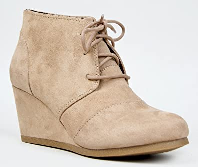 Women's Vegan Suede Lace Up Ankle Wedge Booties
