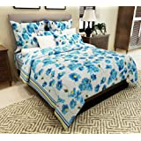 Home Candy 144 TC Cotton Double Bedsheet with 2 Pillow Covers - Floral, Blue