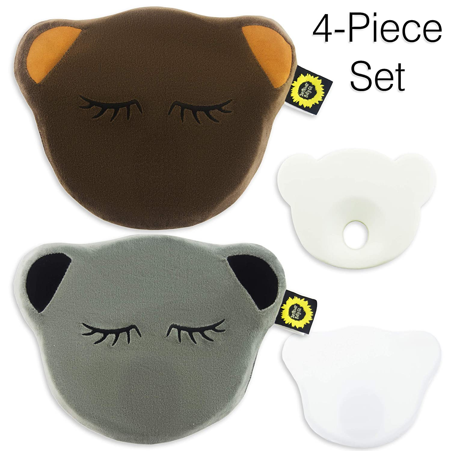 4 Piece Set - Anti Flat Head Shaping Baby Pillow (Brown/Grey, Bear Shape) Sunflower Baby Co.