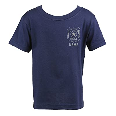 Fully Involved Stitching Police Personalized Navy Toddler Shirt with Badge: Clothing