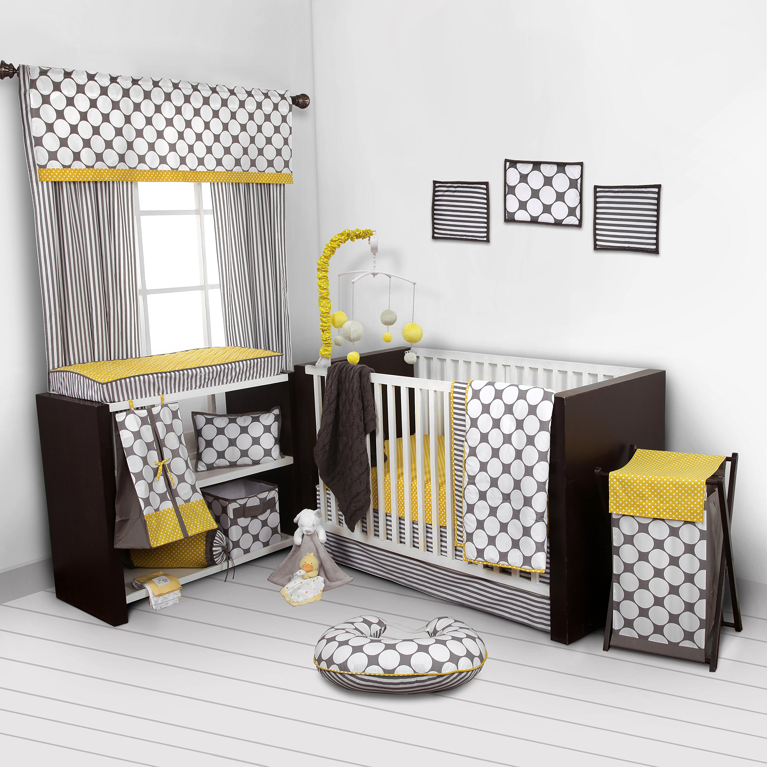 Bacati - Dots/pin Stripes Grey/yellow 10 Pc Crib Set Without Bumper Pad