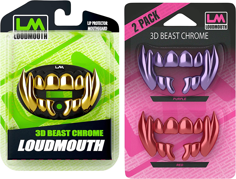 Loudmouth Football 3D Beast Black & Gold Chrome Mouth Guard & Loudmouth 3D Purple & Red Chrome Beast Blister Pack Bundle