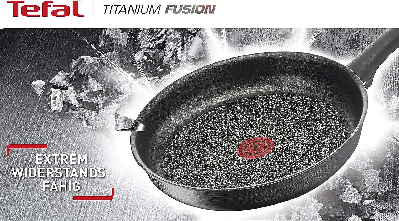 Tefal G12419 Titanium Fusion Po/êle /à wok avec rev/êtement anti-adh/ésif et rev/êtement thermique Hard Fusion pour tous feux dont induction Noir 28 cm