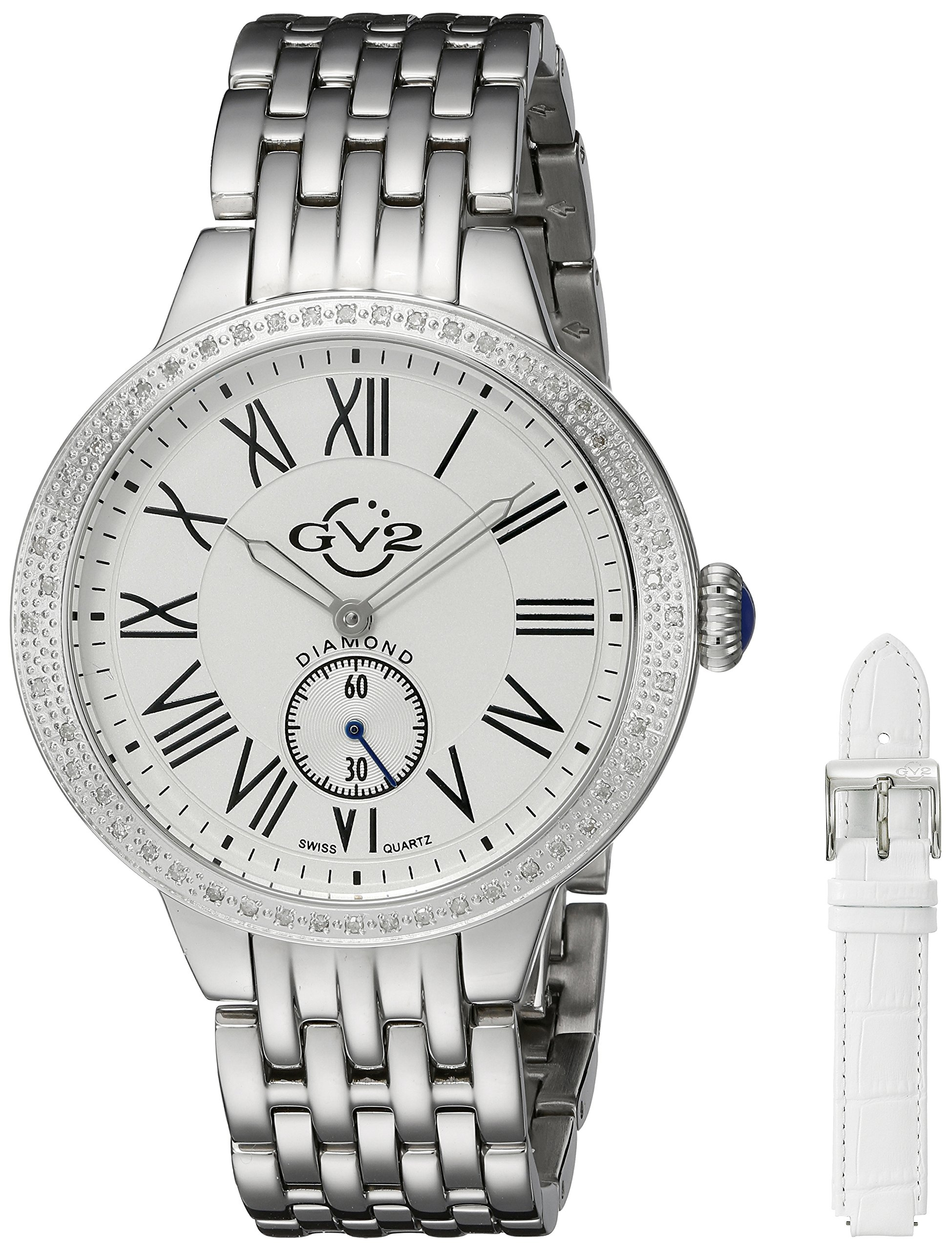 GV2 by Gevril Astor Womens Diamond Swiss Quartz Stainless Steel Bracelet Watch, (Model: 9100)