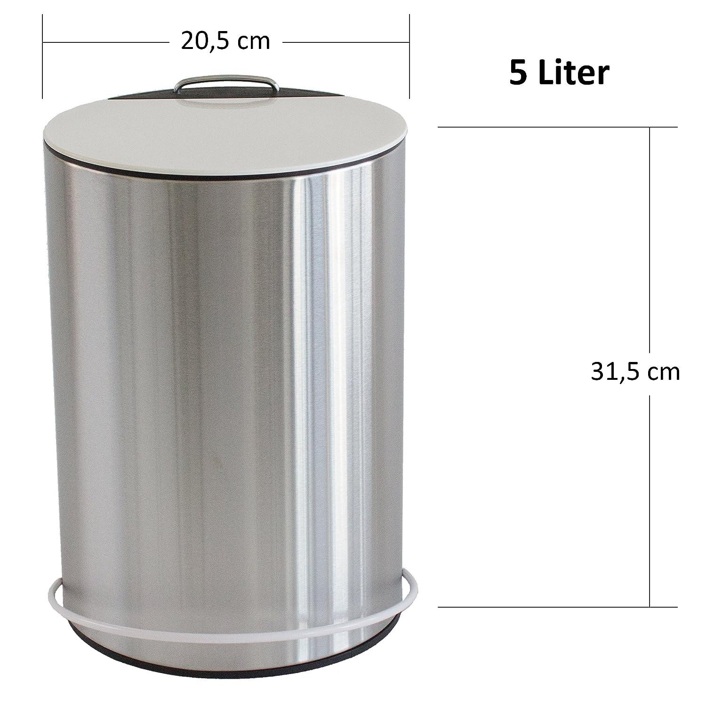 MSV 100809 Poubelle /à p/édale Unna en Acier Inoxydable 5l-20,5x31,5cm 30 x 20 x 15 cm Plastique Blanc