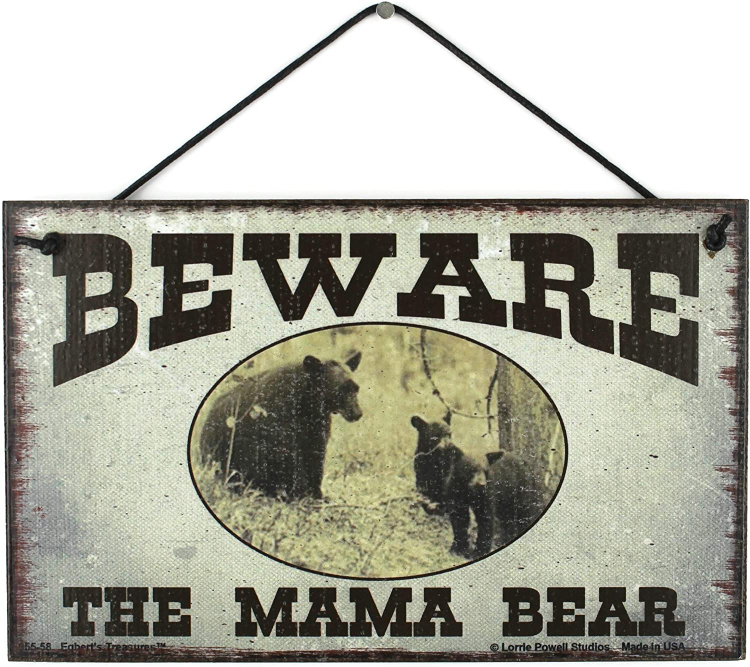 Egbert's Treasures 5x8 Vintage Style Sign with a Family of Bears Saying, Beware The Mama Bear Decorative Fun Universal Household Family Signs for Mom