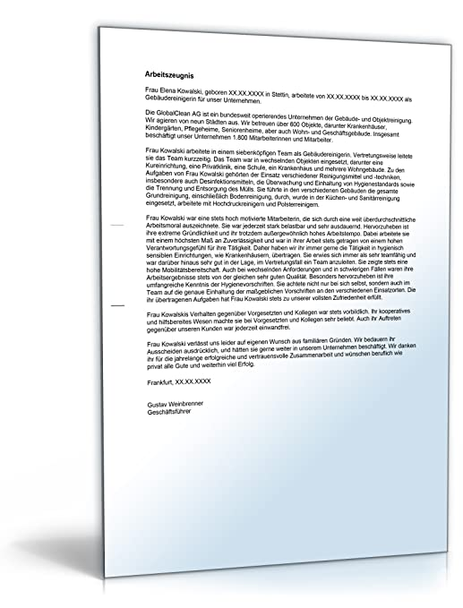 Arbeitszeugnis Gebäudereiniger Note Eins [Word Dokument]: Amazon.de ...