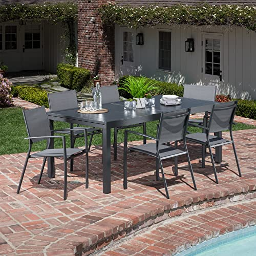 Hanover NAPLESDN7PC-GRY 7 Piece Naples Dining Set Outdoor Furniture